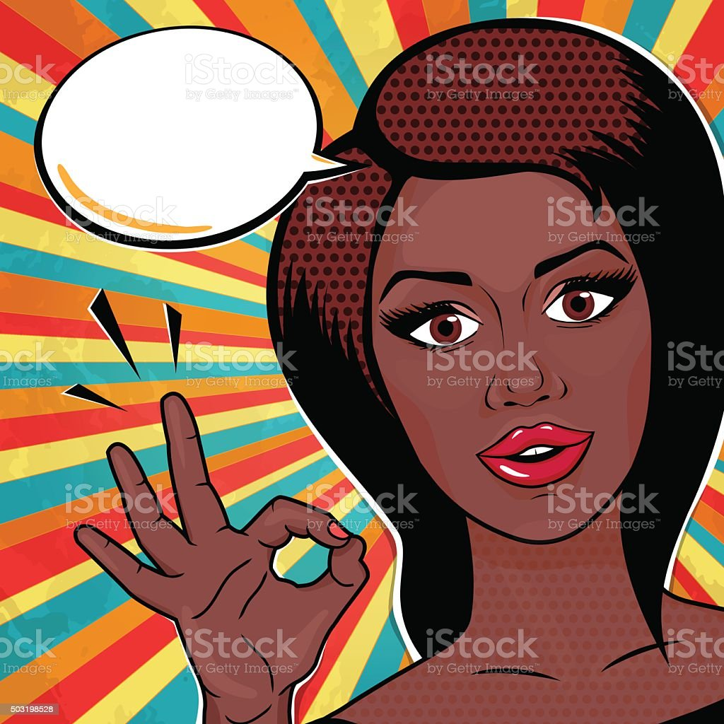 Stock vector pop art woman perfect sign hand ok sign vector illustration xxx