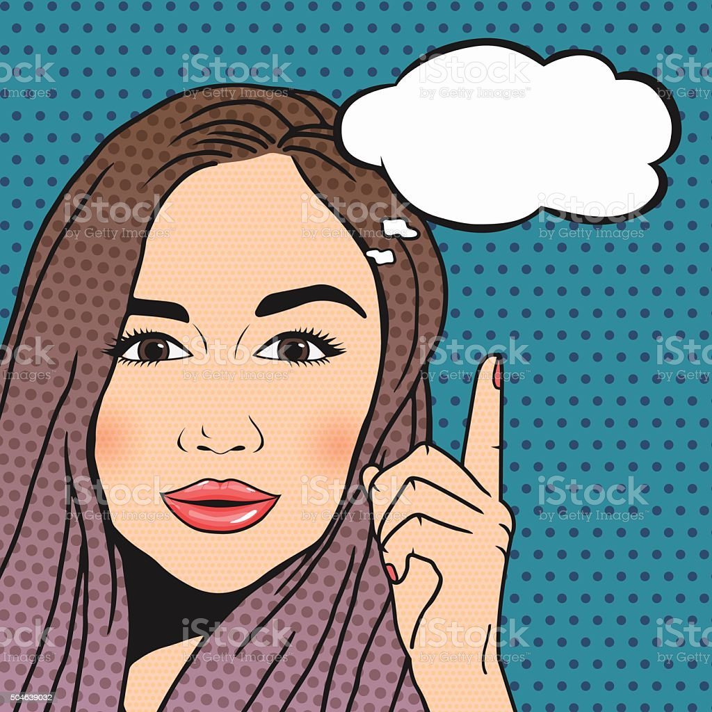 Vector Pop-art brunette woman thinking and pointing upwords, speech bubble vector art illustration