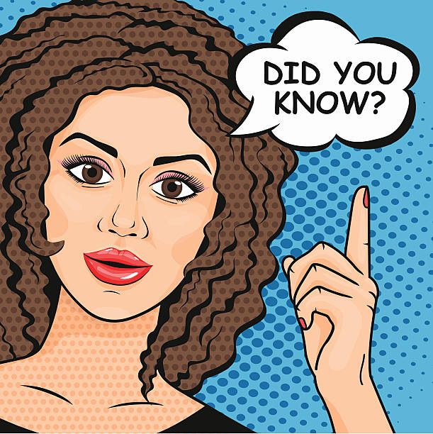 stockillustraties, clipart, cartoons en iconen met vector pop-art cute curly woman asking question did you know? - curly brown hair