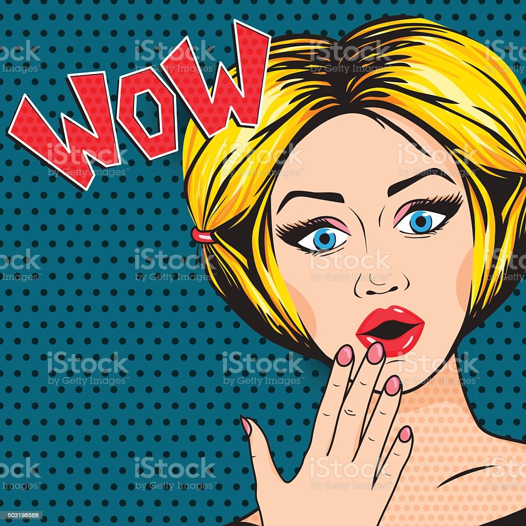 Vector Pop-Art Shocked Woman with open mouth, WOW message comic vector art illustration