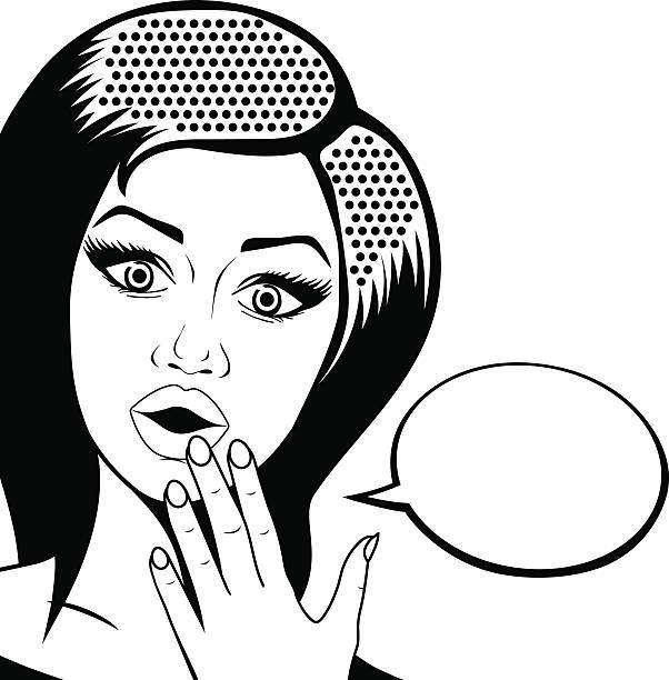 illustrazioni stock, clip art, cartoni animati e icone di tendenza di vettoriale pop-arte di donna sorpresa con aprire bocca e discorso di pensiero - smile woman open mouth