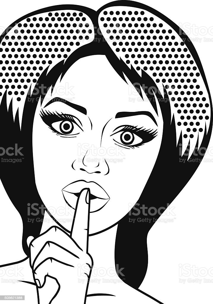 Vector Pop-art woman with forefinger on lips outlined, graphic portrait vector art illustration