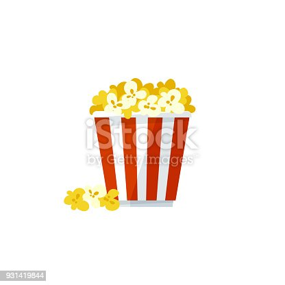 Vector illustration, simple popcorn icon isolated on a white background