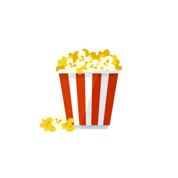 Vector popcorn icon on a white background Vector illustration, simple popcorn icon isolated on a white background popcorn stock illustrations