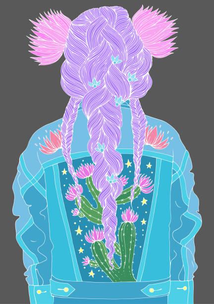 vektor-porträt spaß mädchen rückansicht mit frisur mit drei geflochtenen zöpfen mit zwei großen lilien. gekleidet in jeans-retro-jacke mit blühenden kaktus farbiert mit weißen linien kontur auf einem grauen rücken - pastellhosen stock-grafiken, -clipart, -cartoons und -symbole