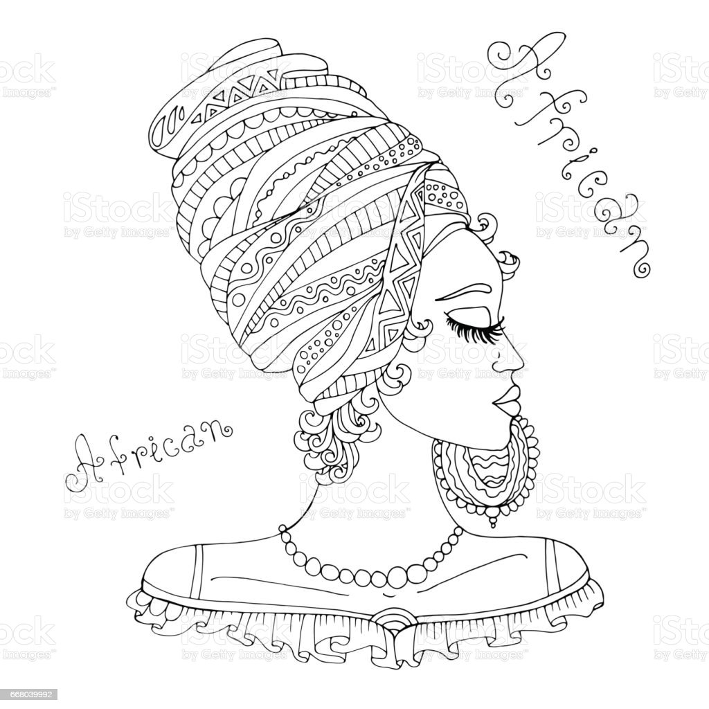 Vector portrait in profile of a beautiful African girl in a scarf on her head vector art illustration