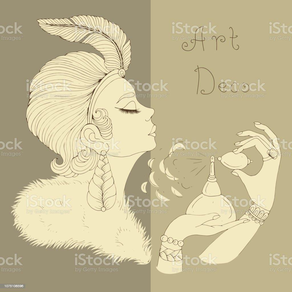 Vektorportrat Im Profil Der Elegante Dame Im Jugendstil Madchen Mit