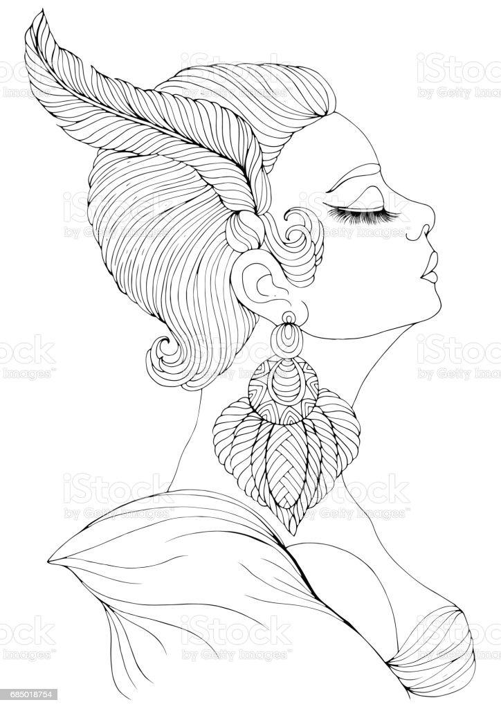 Vector Portrait In Profile Of Elegant Lady In Art Deco Stock
