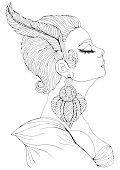 Vector portrait in profile of elegant lady in Art Deco
