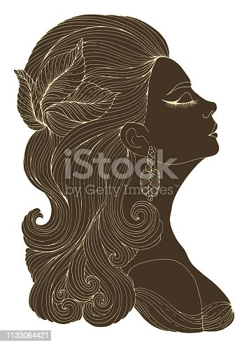 Vector portrait in profile of elegant lady in retro style. Flapper girl with wavy hair with a hairpin in the form of leaves. Art Deco style jazz party. Decorated dark silhouette with light line