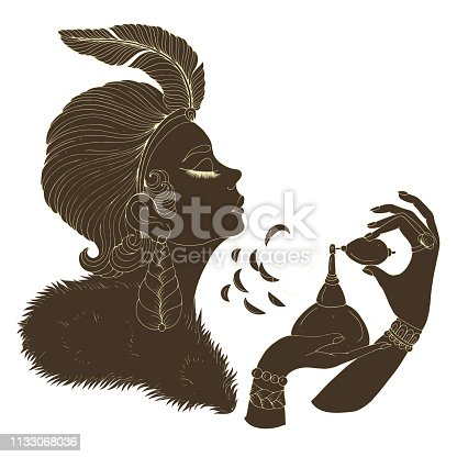 Vector in profile of elegant lady model in Art Deco. Girl with a feather in a short hairstyle and a fur cloak. She holds perfume retro bottle and sprays on the neck. Decorated dark silhouette