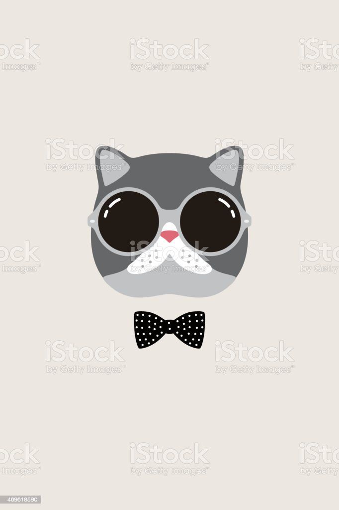 Vector portrait of a cat with bow tie and sunglasses vector art illustration