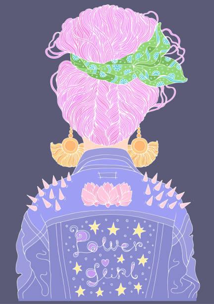 vektor-porträt eines jungen mädchens rückansicht mit frisur lose brötchen in einem schal gewickelt. gekleidet in jeans-retro-jacke und spikes auf den schultern farbiger spaß mit weißen linien kontur isoliert auf einem violetten hintergrund - pastellhosen stock-grafiken, -clipart, -cartoons und -symbole