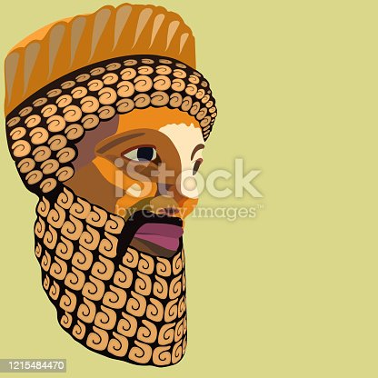 istock Vector portrait of an antique king with a decoratively laid lush beard and mustache stylized as a colored mosaic 1215484470