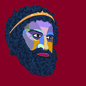 Vector portrait of an antique king with a lush beard and mustache stylized as a colored mosaic on a red background