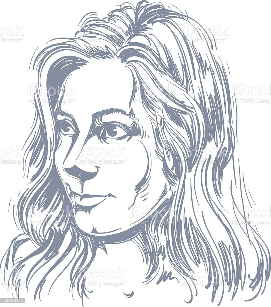 Vector portrait of attractive Caucasian woman with long wavy hair royalty-free vector portrait of attractive caucasian woman with long wavy hair stock vector art & more images of adult
