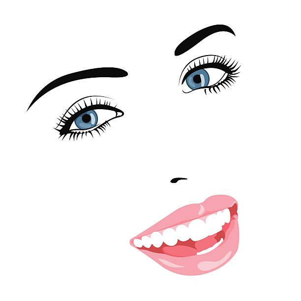 ilustraciones, imágenes clip art, dibujos animados e iconos de stock de vector retrato de hermosa chica sonriente - ojos azules