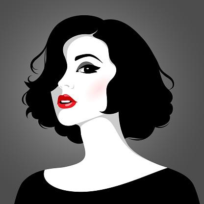 Vector portrait of beautiful woman