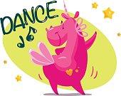 istock Vector portrait of flat funny unicorn character dancing 681766322