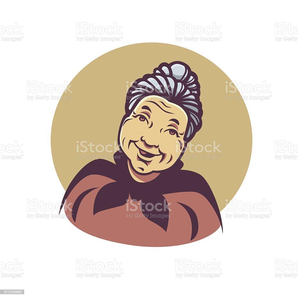 vector Retrato de bonito abuela - ilustración de arte vectorial