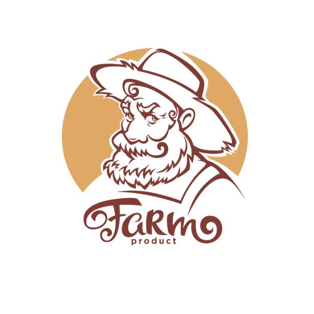 vector portrait of old farmer in hat and farm lettering composition for your logo - old man hat stock illustrations, clip art, cartoons, & icons