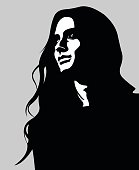 Vector portrait of pensive long hair woman looking up
