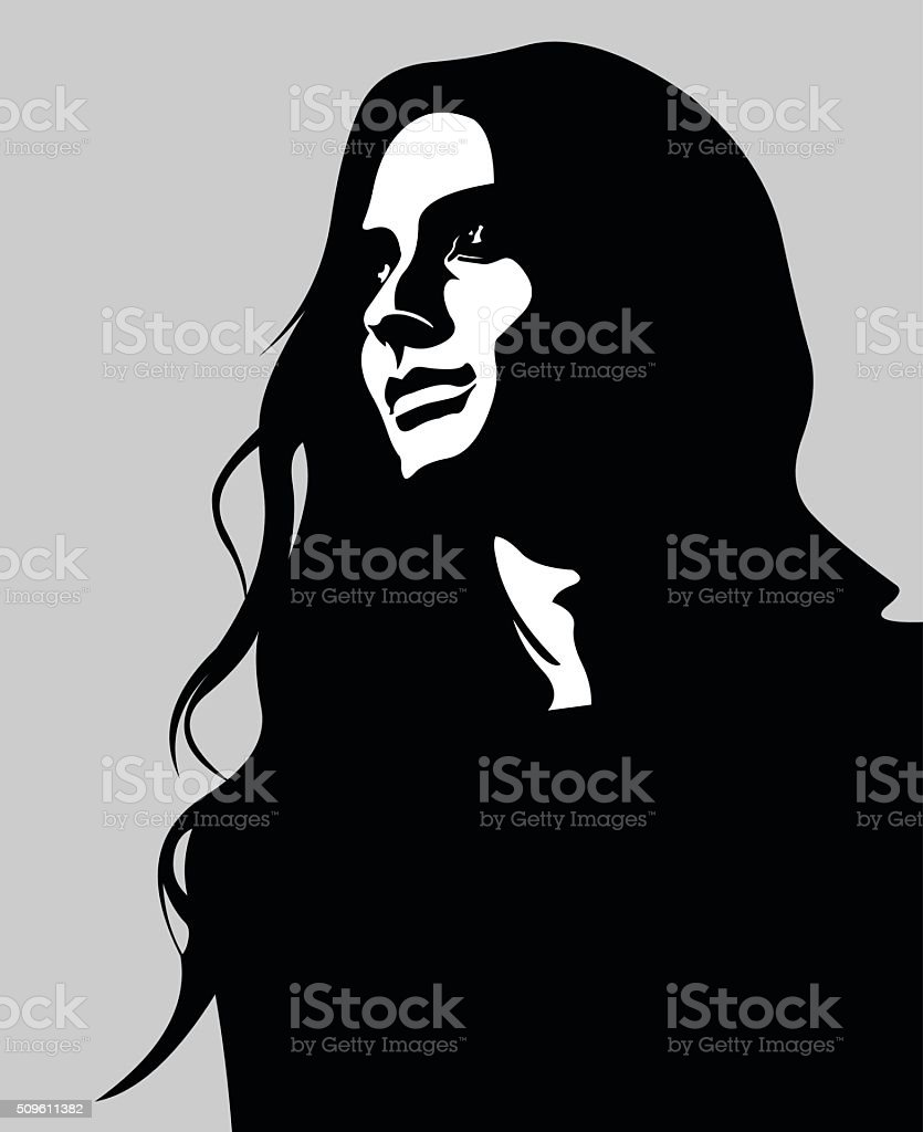 Vector portrait of pensive long hair woman looking up vector art illustration