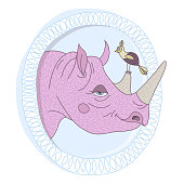 Vector portrait of pink rhino head with little bird sitting at horn. Blue frame with leaves. Happy friends. Vector illustration
