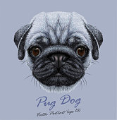 Vector Portrait of Pug DogPrint