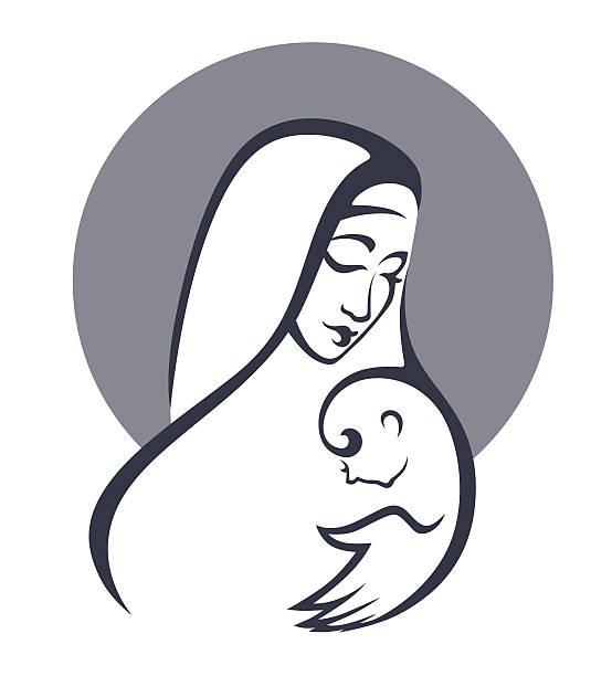 vektor porträt der mutter maria und ihr baby - jungfrau stock-grafiken, -clipart, -cartoons und -symbole