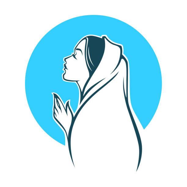 vektor-porträt der jungfrau maria, label, emblem - jungfrau stock-grafiken, -clipart, -cartoons und -symbole