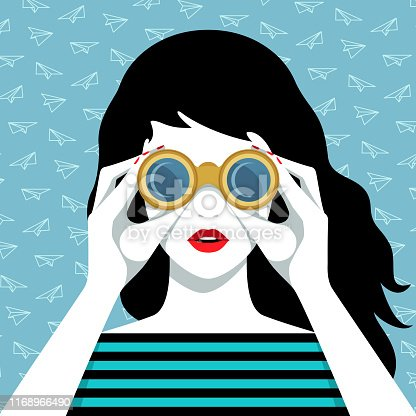 Vector portrait of beautiful young woman with long black waving hair, wearing striped shirt, looking through binoculars against blue background with paper airplanes pattern