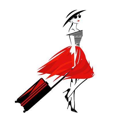 vector portrait of woman traveller with luggage wearing fashion clothes