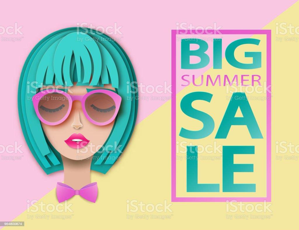 Portrait de vecteur de belle jeune femme aux cheveux courts et lunettes de  soleil. Art 92d7f4650bfb