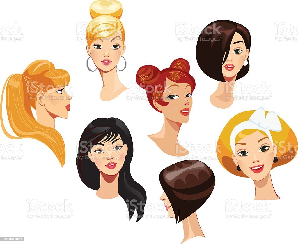 vector portraits of faces girls vector art illustration