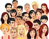 vector illustration of portraits faces of men and women