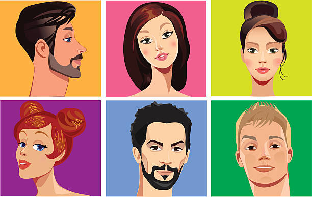 vector portraits of faces people on colored background vector illustration of faces people on colored background suave stock illustrations