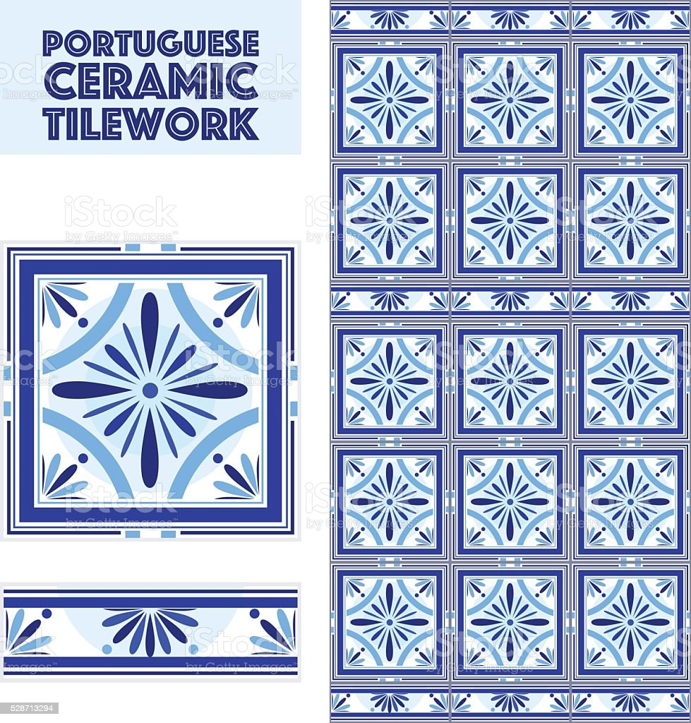 Vector Portuguese Ceramic Tiles Set With Border Bathroom Kitchen ...