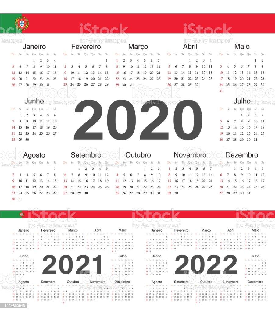 Vector Cercle Portugais Calendriers 2020 2021 2022 Vecteurs libres