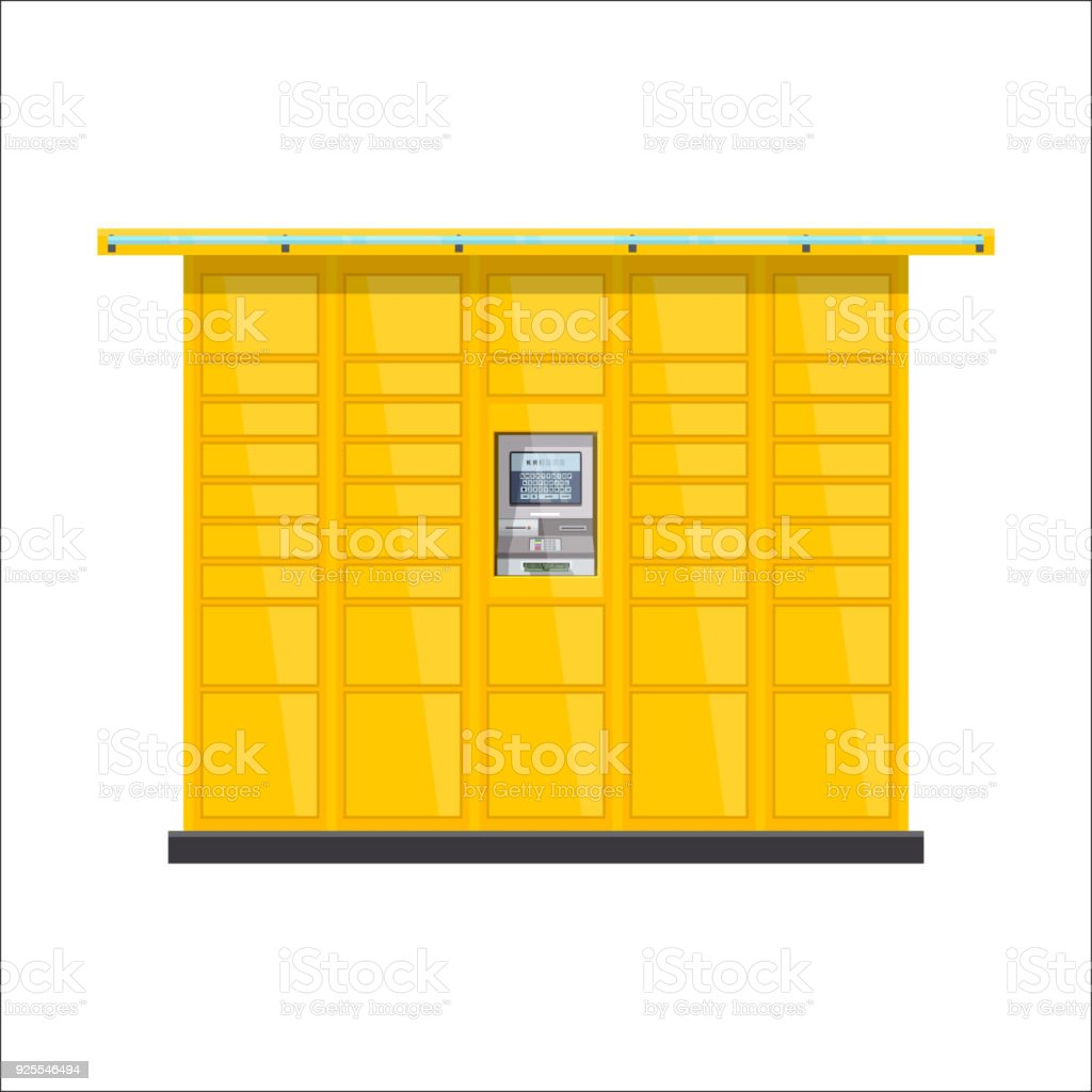 Vector Post Automat Illustration Postomat Branded Selfservice Boxes