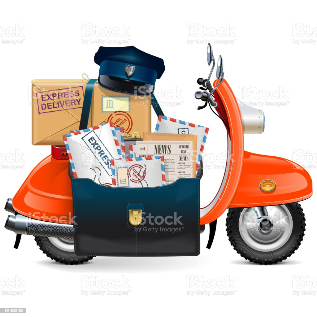Vector Postal Scooter royalty-free vector postal scooter stock vector art & more images of bag