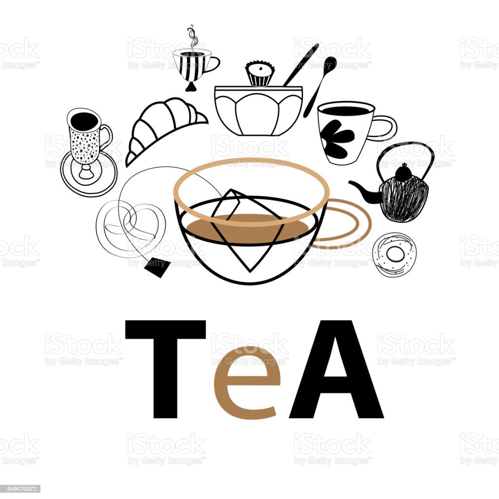 Vector postcard graphics of tea and pastries vector art illustration