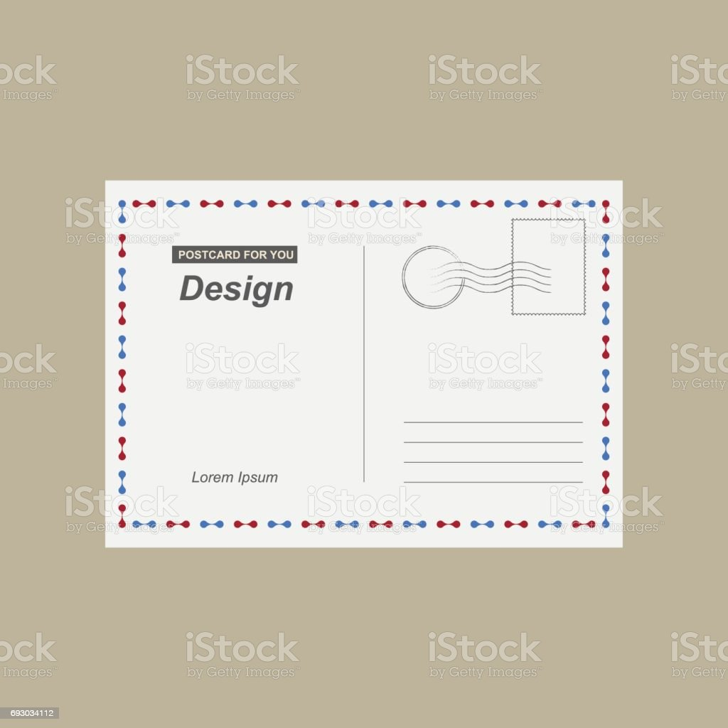 Vector Postcard Postal Card For Travel Template Design For