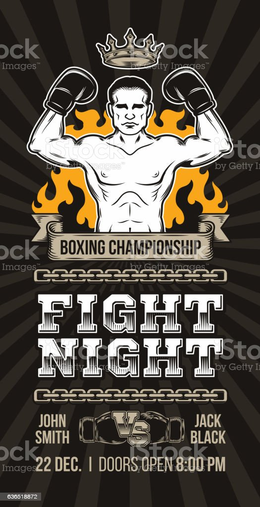 Vector poster announcement boxing championship vector art illustration