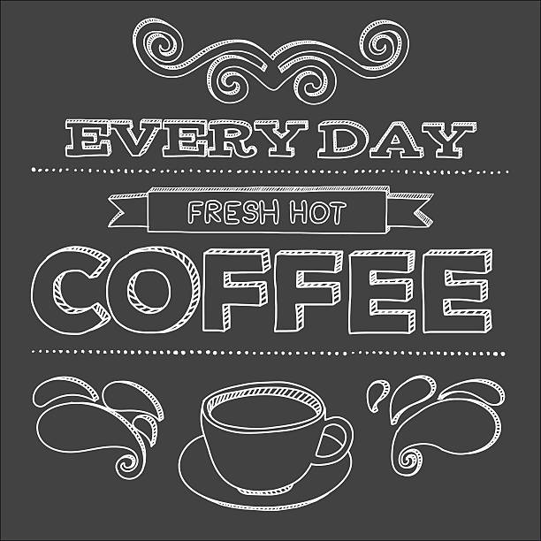 Vector poster. Every day fresh hot coffee vector art illustration