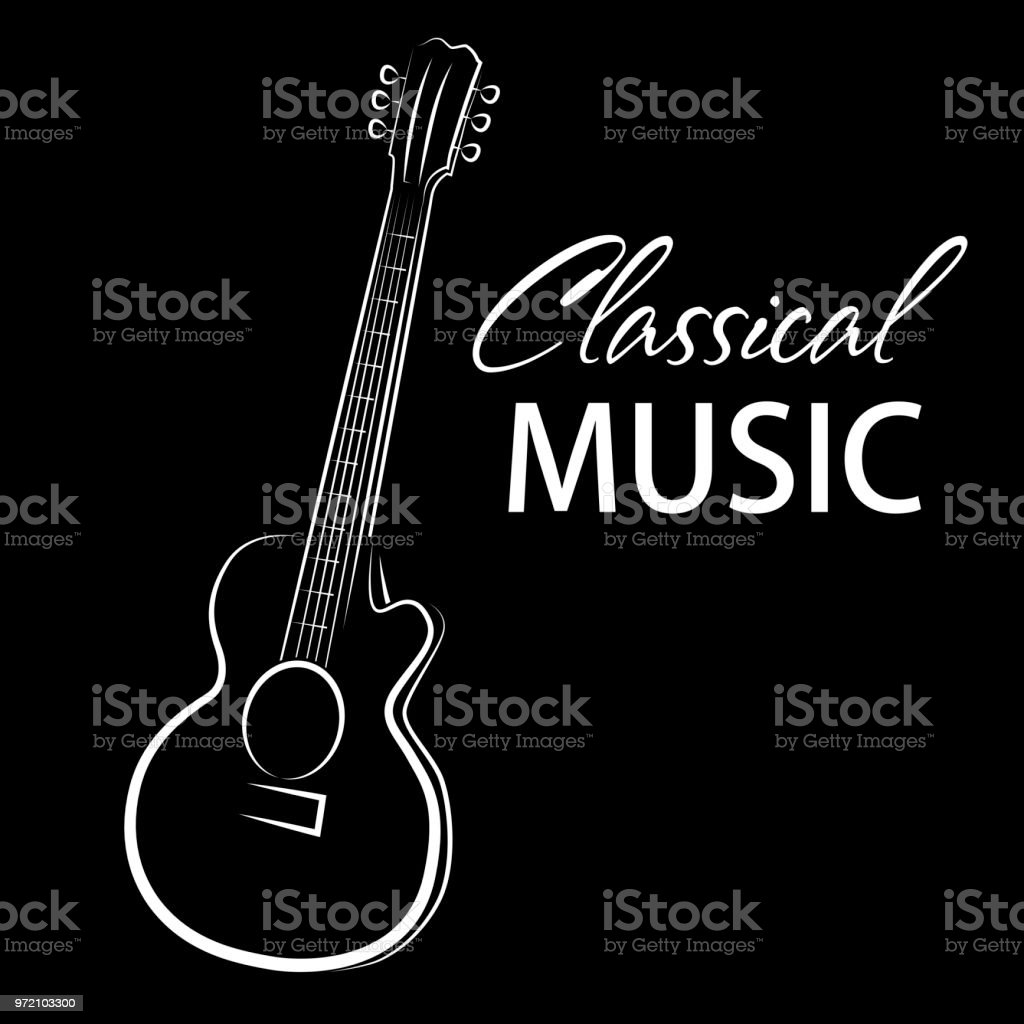 Vector Poster For A Concert Of Classical Music With Guitar Stock
