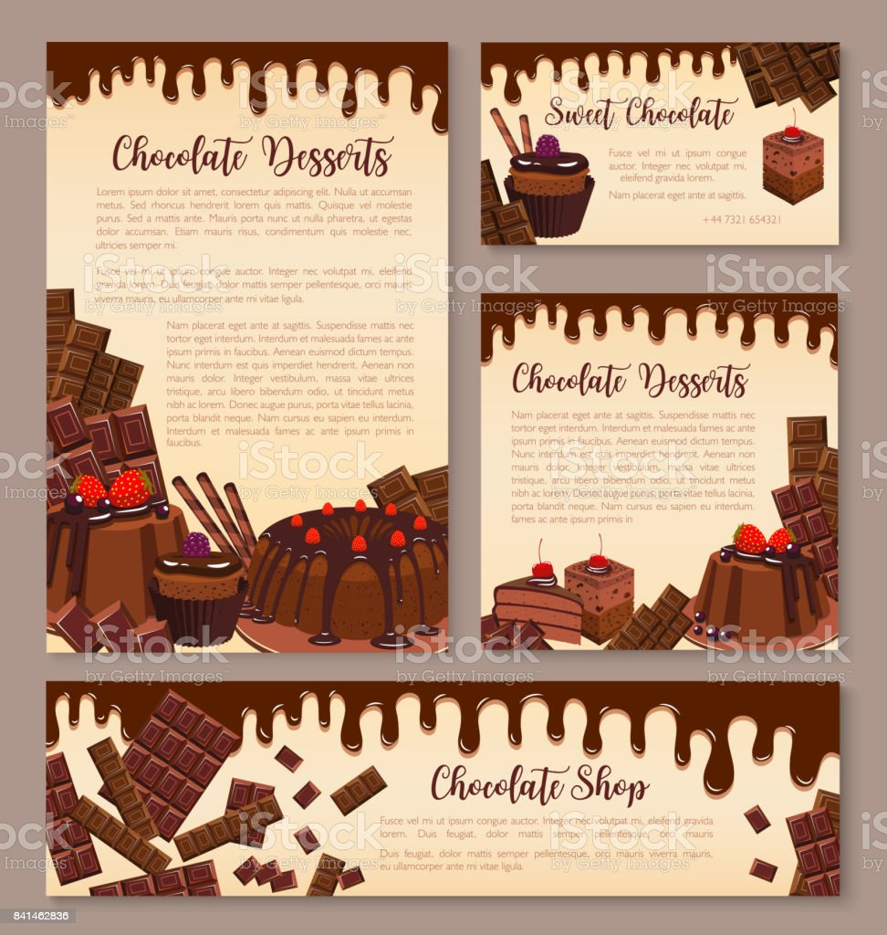 Vector poster for chocolate desserts bakery vector art illustration