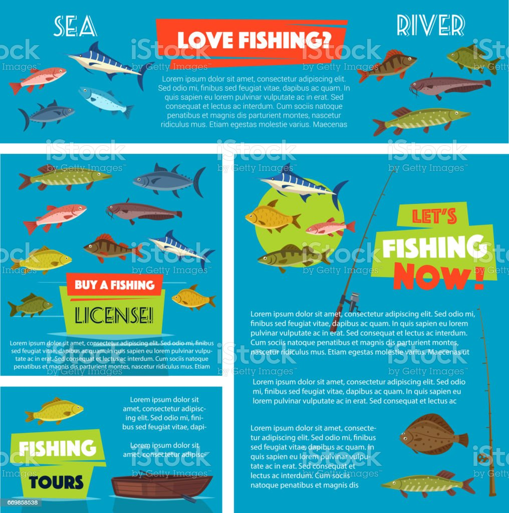 Vector poster for fishing club trip vector art illustration