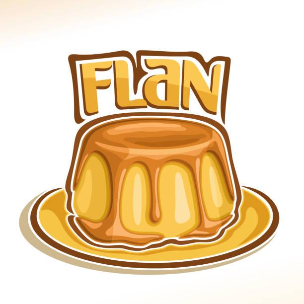 vektor-plakat für französische dessert flan - vanillesauce stock-grafiken, -clipart, -cartoons und -symbole