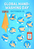 istock Vector poster for Global Handwashing Day. vector infographic, vector illustration. Hands washing medical instructions. Soap bottle and towel. Flat vector icons. 1047505220